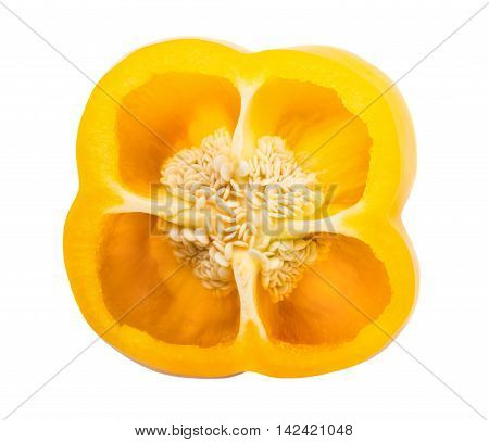 A half of yellow bell pepper isolated on white background
