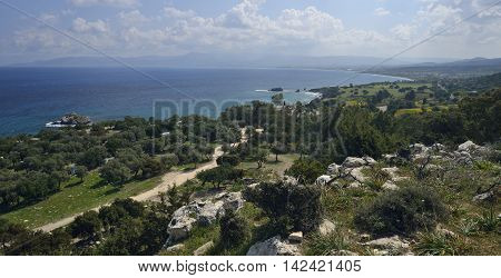 Chrysohou Bay with Troodos Mountains in the distance Cyprus