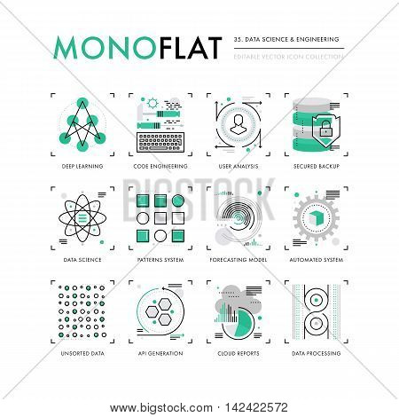 Infographics icons collection of data science programming technology deep learning algorithm. Modern thin line icons set. Premium quality vector illustration concept. Flat design web graphics elements.