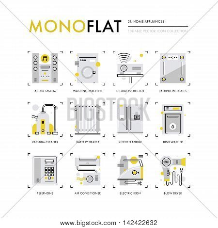 Infographics icons collection of household appliances house equipment kitchen appliances. Modern thin line icons set. Premium quality vector illustration concept. Flat design web graphics elements.