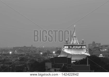 Black and White, Golden Mount temple, landmark of Bangkok Thailand
