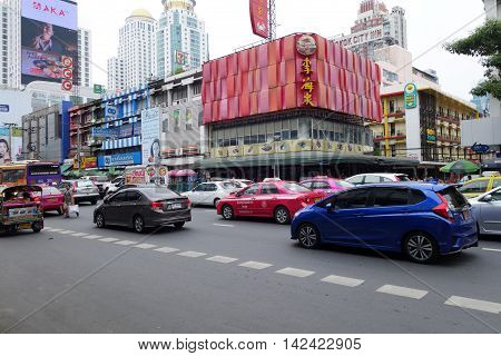 BANGKOK THAILAND-20 JUNE 2016: Thailand Bangkok street scene with heavy traffic on Sukhumvit road