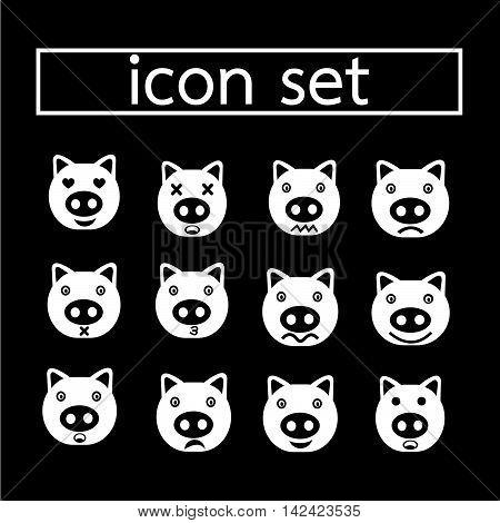 an images of pig emotion icon set illustration design