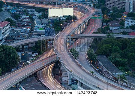 Close up long exposure highway interchange night view