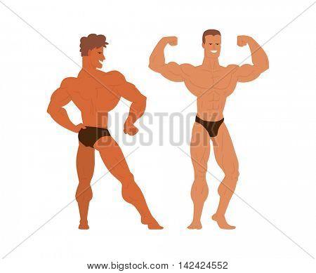 Mens physics bodybuilders vector illustration.