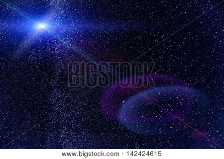 Night sky with lot of shiny stars, natural abstract astro background with lens flare
