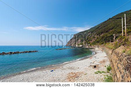 The Arena beach cliff and railway in Framura small village in Liguria La Spezia Italy