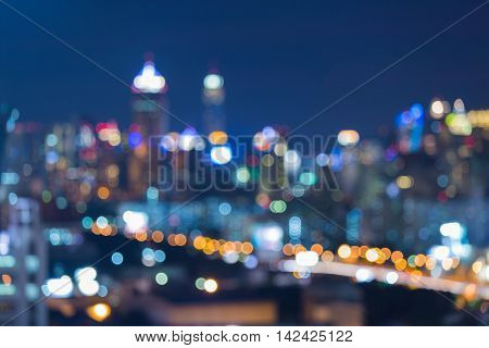 Night blurred light office building, abstract background