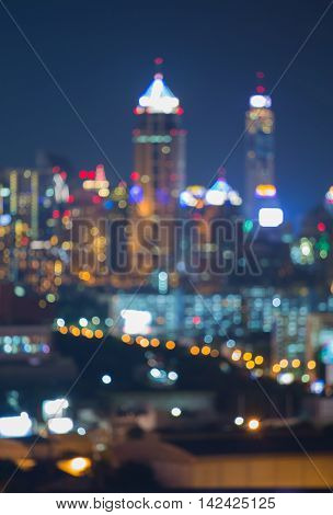Night blurred lights city downtown, abstract background