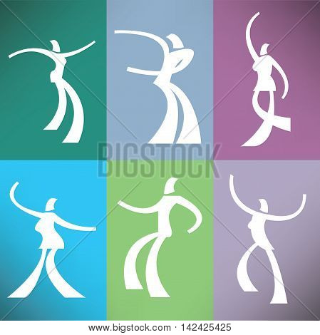 A set of six stylized dancers  for print or web use