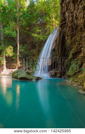 Beautiful natural blue stream waterfall, in deep forest nation park