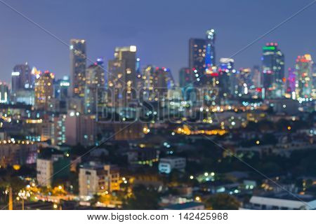 Abstract blurred lights night view, big city building