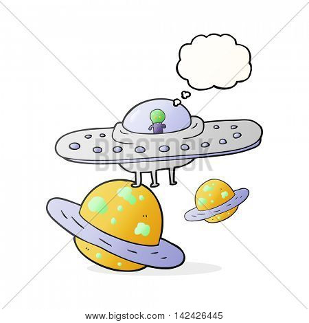 freehand drawn thought bubble cartoon flying saucer in space