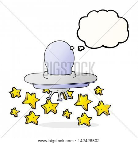 freehand drawn thought bubble cartoon flying saucer