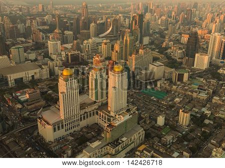 Arial view Bangkok city downtown during sunset