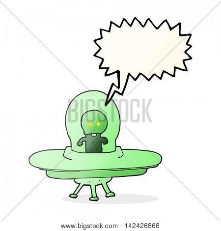 freehand drawn speech bubble cartoon alien in flying saucer