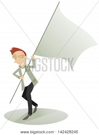 Waved banner. Cartoon cheerful man carries the waved banner