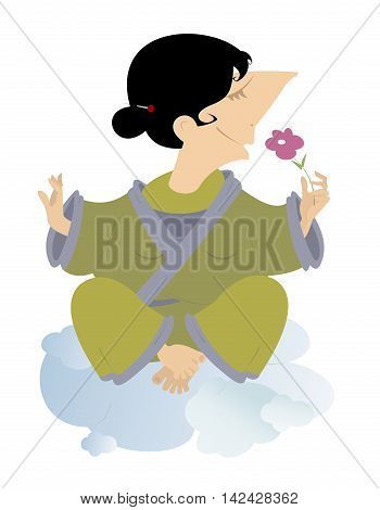Meditation. Women sits on the clouds and meditates