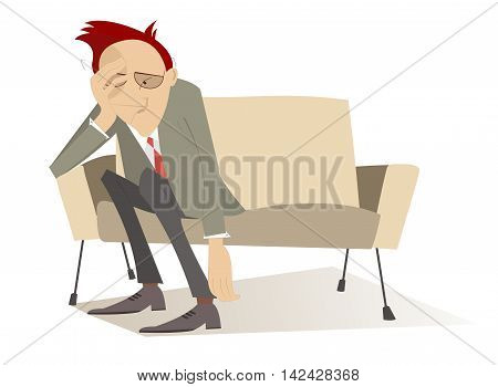 Depression. Man in low spirits sits on the edge sofa and puts hands down
