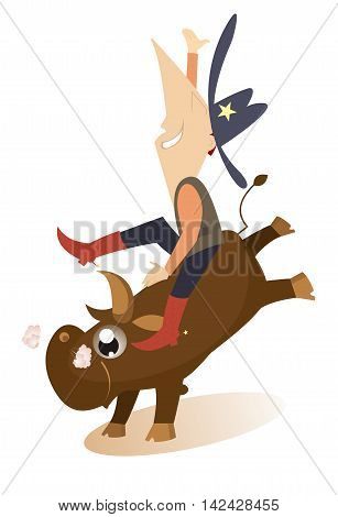 Rodeo. Man is riding on the bull