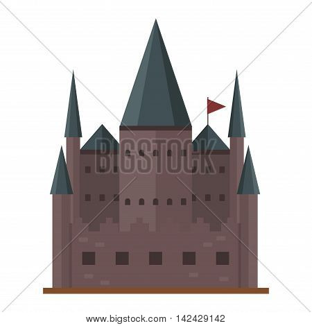 Cartoon fairy tale castle tower icon. Cute cartoon castle architecture. Vector illustration fantasy house fairytale medieval castle. Kingstone cartoon castle cartoon stronghold design fable isolated.