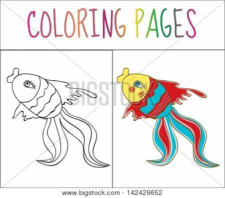 Coloring book page fish. Sketch and color version. Coloring for kids. Vector illustration
