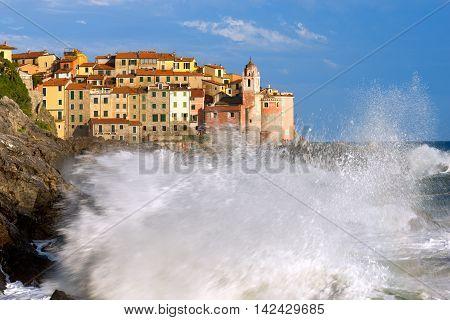 The village of Tellaro during a sea storm. La Spezia Liguria Italy Europe