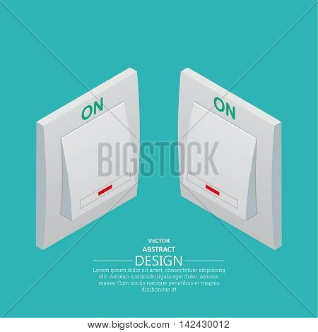 Two icons light switch in the switched on mode. Vectorial isometric illustration. Projection at the left and on the right.