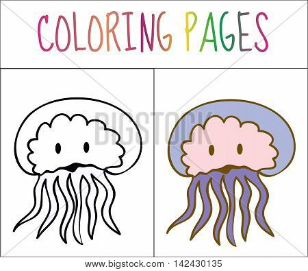 Coloring book page Medusa. Sketch and color version. Coloring for kids. Vector illustration