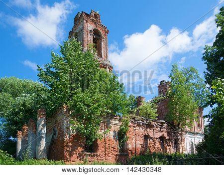 The ruins of the old Church of the Resurrection (1799) in the village Ogarkova. Yaroslavl region Russia