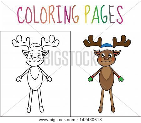 Coloring book page deer new year Christmas. Sketch and color version. Coloring for kids. Vector illustration