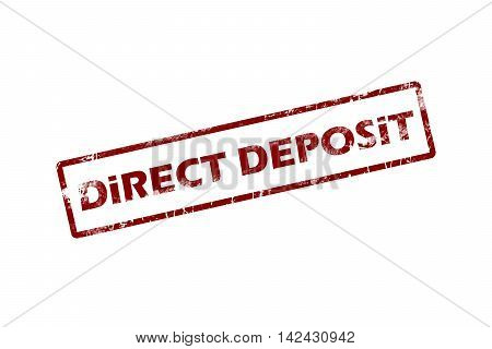 Rubber stamp with text direct deposit inside