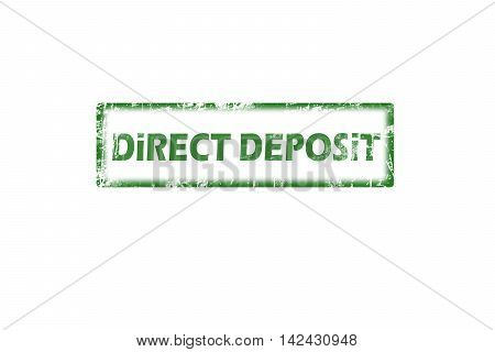 Rubber stamp with text direct deposit inside, grunge green stamp