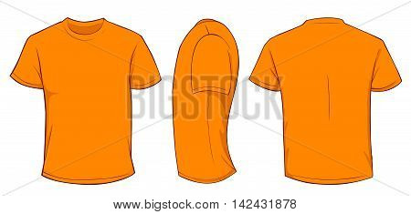 Vector illustration of blank orange men t-shirt template, front, side and back design isolated on white