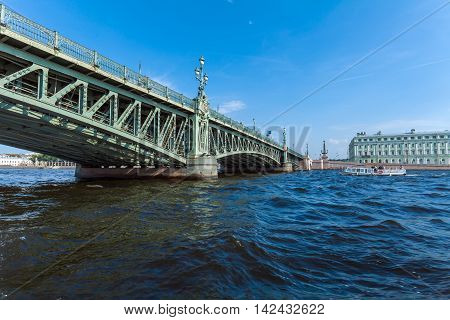 Trinity Bridge Across The Neva In Saint Petersburg