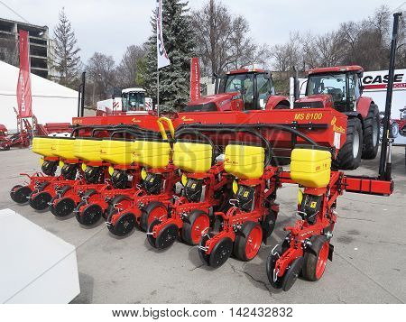 Moldova Chisinau, 05 may 2016: New seeder and tractors at exhibition of agricultural machinery