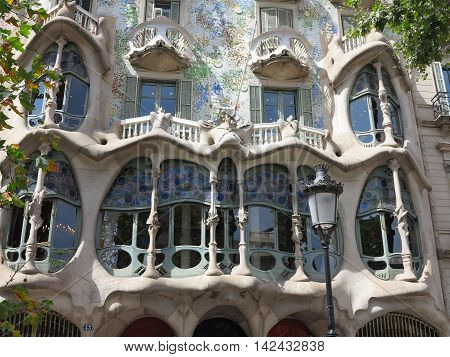 Barcelona Spain 05 july 2016:: Batllo House Facade and windows.