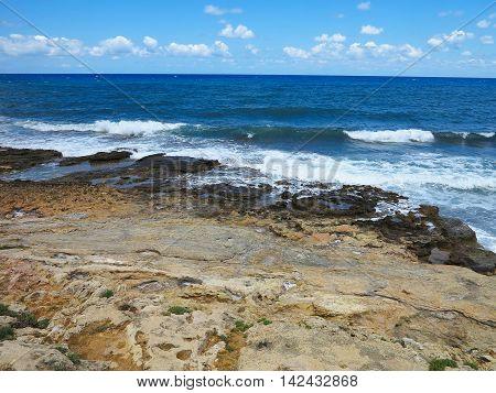Clear azure sea water landskape and rocks near Crete coast Greece
