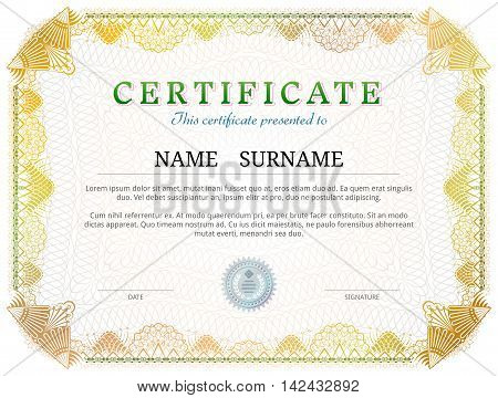 Certificate template with guilloche elements. Yellow diploma border design for personal conferment. Vector image for award, patent, validation, licence, education, authentication, achievement, etc