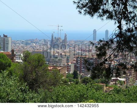 Cityscape view of Barcelona from Park Guell in a summer day in Spain