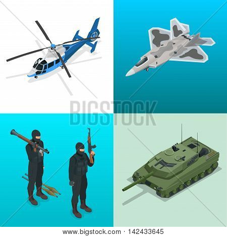 Isometric icons helicopter, aircraft, tank, soldiers. Flat 3d vector high quality military vehicles machinery transport