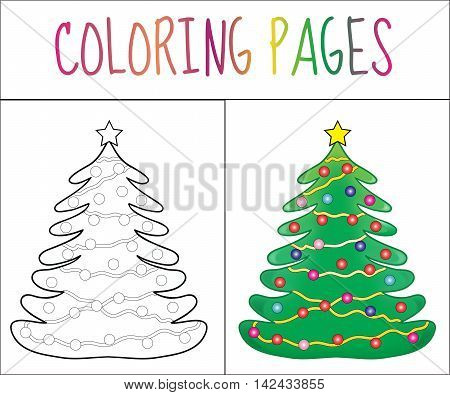 Coloring book page Christmas Tree new year christmas. Sketch and color version. Coloring for kids. Vector illustration