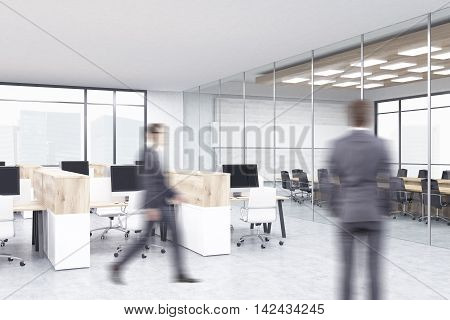 Two businessmen in office with cubicles and conference room in background. Concept of corporate work. 3d rendering. Mock up.