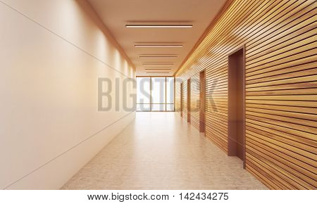 Sunlit Office Corridor