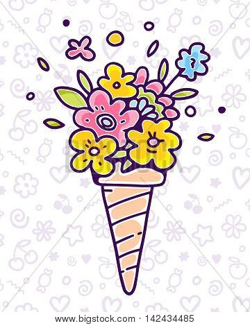 Vector colorful illustration of flower composition in waffle cone on white pattern background with flower star cherry. Summer time concept. Flat style hand drawn line art design of ice cream for card poster