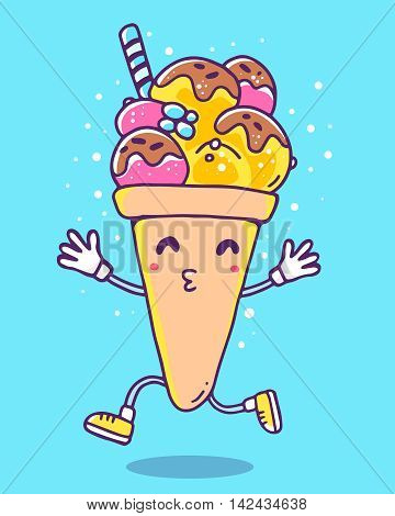 Vector colorful illustration of character ice cream with legs and hands on blue background with dots. Funny ice cream. Flat style hand drawn line art design of ice cream for card poster