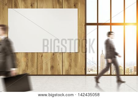 Businessmen walking in company corridor. Horizontal poster on wall. Panoramic New York City view. Concept of business corporation. 3d rendering. Mock up. Toned image