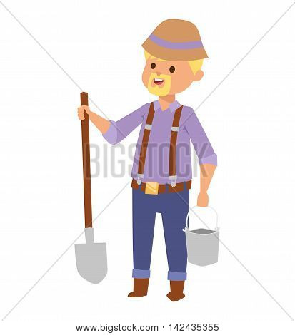 Full length portrait of agricultural worker posing with shovel isolated vector character. Man with shovel agriculture equipment labor cartoon farmer. Cartoon man farmer with shovel safety tool