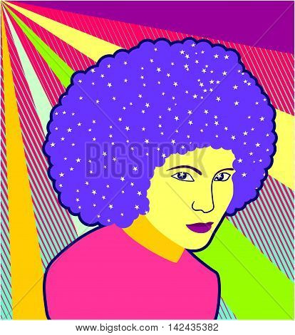 Retro colorful disco girl portrait background with stars.