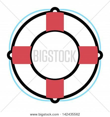Stripped lifebuoy emergency help survival equipment protection. Lifebuoy vector icon symbol lifesaver swim. Isolated lifebuoy preserver icon object concept sign guard. Beach water ship float lifebuoy.